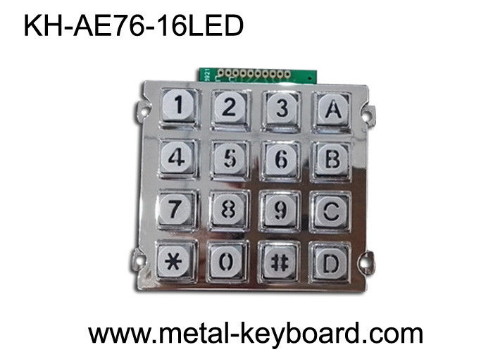 16 Keys Backlit Vandal Proof Access Keypad,  Metal Numeric Keypad