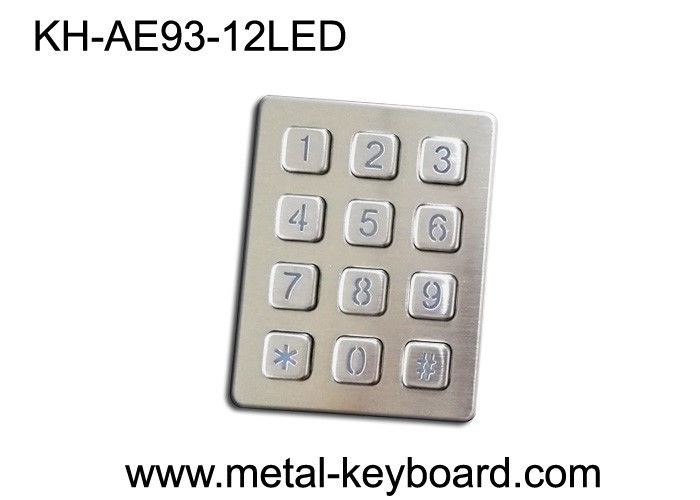 12 Keys LED Backlight Stainless Steel 4 x 3 keypad Water Resistant