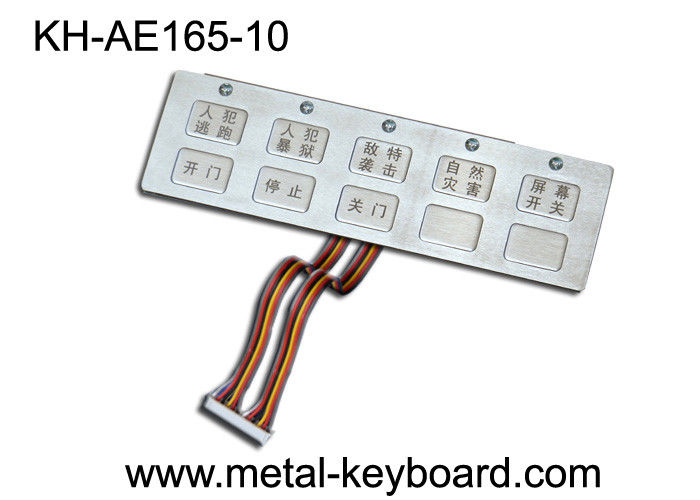 10 Keys Waterproof Metal Keypad with Top Panel Mounting Solution