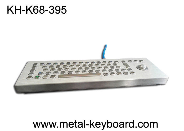 Standalone Stainless Steel Ruggedized Keyboard , Industrial Desktop Keyboard with Trackball